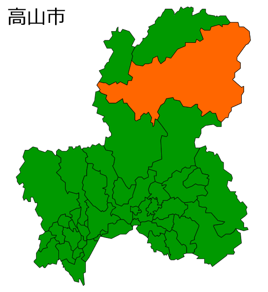 岐阜県高山市の場所を示す画像