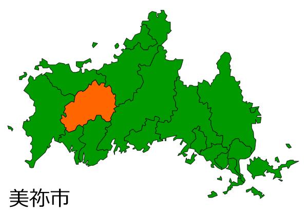山口県美祢市の場所を示す画像
